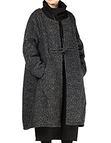 Vogstyle Women's New Winter Loose One Button Long Overcoat Wool Coat Medium Black