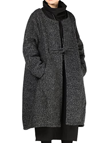 Vogstyle Damen Mantel Wool Coat Mit EIN chinesischer Knopf Lang Mantel (XL, Schwarz)