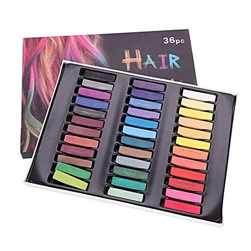 Haarkreide 36 Farben Hair Chalk Temporäre Haarfarbe Halloween Fasching Party Haarfärbemittel Auswaschbar DIY Kreidestifte Colorationen für Geburtstag Geschenk Weihnachten Karneval