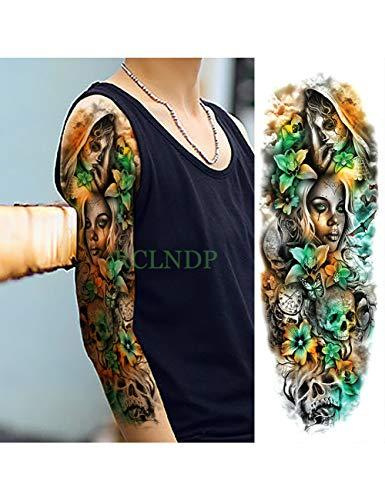 Astty adesivo tatuaggio impermeabile autoadesivo del tatuaggio temporaneo carpa pesce fiore braccio pieno falso tatto flash manica tatoo di grandi dimensioni per le donne uomini, grigio scuro