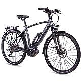 CHRISSON 28 Zoll Herren Trekking- und City-E-Bike - E-Actourus anthrazit matt - Elektro Fahrrad Herren - 10 Gang Shimano Deore Schaltung - Pedelec mit Performance Line Mittelmotor 250W, 63Nm