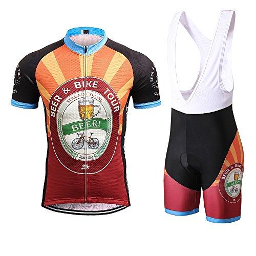 STRGAO New Sommer Herren Männer Kurze Hülse Zyklus Jersey Kurzarm Fahrradtrikot Fahrrad Hemd Fahrrad Radfahren Trikot Cycling Jersey Bike Shirt Padded Gepolsterte Bib Shorts Größe 5XL (Mountain Bike Bib Shorts)