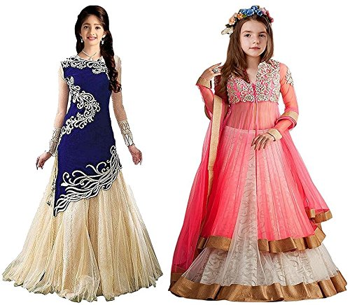 Market Magic World Girl's Blue & Pink Velvet, Net Semi Stitched Combo Pack lehenga Choli, Salwar Suit, Gown (Kids Wear_Free Size_8-12 Year age)  available at amazon for Rs.799