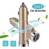 2 IN 1 Dual USB Auto Ladegerät Luftreiniger Sauerstoff Bar Ionisator Reiniger...