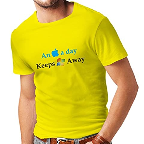 N4246 T-shirt pour hommes An Aplle a day ... (Large Yellow Multi Color)
