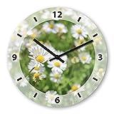 Wanduhr mit Motiv - Gänseblume - aus Echt-Glas | runde Küchen-Uhr | große Uhr modern