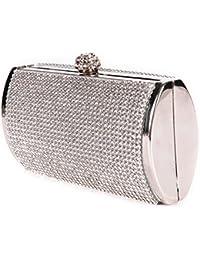 Sac a Main Pochette Porte-monnaie Rigide Metallique Deco Strass Pr Femme Fille Argente
