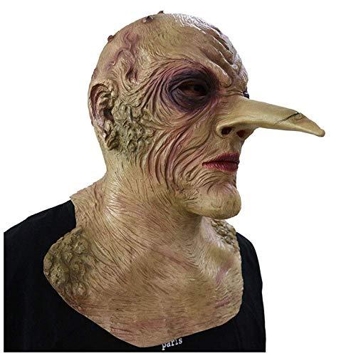 YaPin Horror Maske Erwachsene Full Face Scary Latex Kopfbedeckungen Halloween Lustige Geistermaske Grimasse Lange Nase Teufel