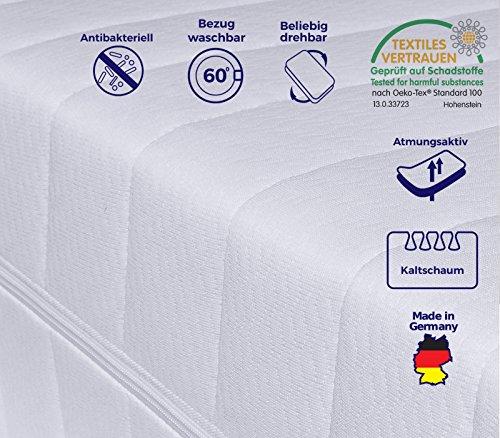Mister Sandman 7-Zonen Matratze, Härtegrad H2 H3 (Weiß), Kaltschaummatratze, Rollmatratze, Doppeltuchbezug Waschbar, 4-Seiten-Reißverschluss, Öko-Tex Standard100