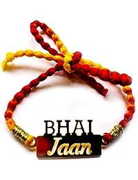 Feyre Designer Steel Gold Polish Personalised Rakhi For Bhai/Brother/ Bhaiya- (Bhai Jaan)