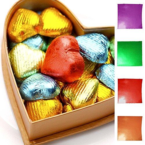 100Stück Quadratisch Candy Bar Wrappers mit dicken Papier Rückseite–zusammenklappbar und Wraps–auch–Best für die Verpackung Hershey/Süßigkeiten/Schokolade/Geschenke–Größe 7,6x 7,6cm favolook gold (Gold Wrapper, Candy)