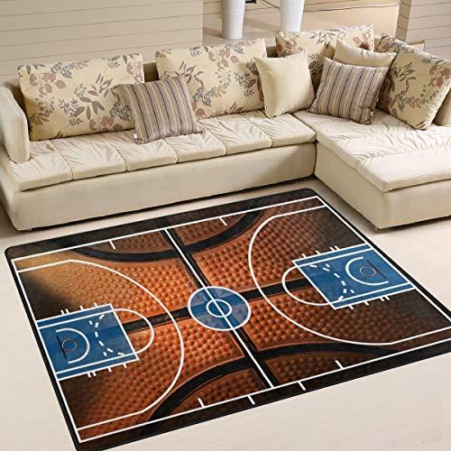 Flächenteppich 80 x 58 Zoll Basketball Print Court Sport für Wohnzimmer Schlafzimmer