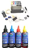 #8: GoColor Empty Continuous Ink Tank Supply System CISS Kit Compatible for HP Inkjet Printer + 70 ML Refill Dye ink