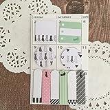 Angoo Shedule Marker set di foglietti adesivi & Tabs–self stick note memo–Minette menta rosa Black Cat–Kawaii cancelleria