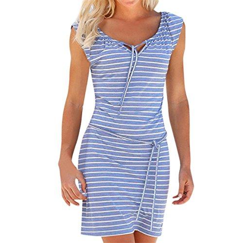 Kleider der Frauen 2018 arbeiten heißer Verkauf Boho-Streifen-langes Maxikleid über Knie, Miniabend-Partei-Strand-dünne Kleider für Mädchen um (EU 40/Asien XL, Blau) (Frau Caesar Kostüme)