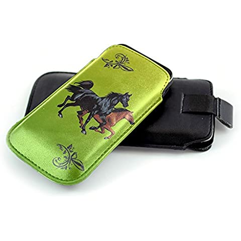 Jockey 10006, Cavallo, Nero Universal Eco Leather Holster Sleeve Slide In Pouch with Colorful Design and Pull Tab Strap Compatible for Sony Xperia Z5 Premium Z1 Z2 Z3 Z3+ Z5 M2 M2 Aqua M4 Aqua