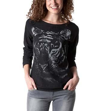 Promod Sweatshirt mit Tiger-Print Schwarz bedruckt 36/38
