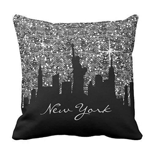 Black and Silver Confetti Glitter New York Skyline Throw Pillowcase 18 x 18 inches - New York Werfen