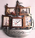 #7: THINK3 ™ SHIP WALL CLOCK WITH 4 PHOTO FRAMES WITH BROWN & SILVER METALLIC COLOURS SIZE 58 X 51 CMS (SILVER & BROWN)
