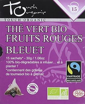 Touch organic Thé Vert Fruits Rouges Bleuet Bio 15 Sachets 30 g - Lot de 3
