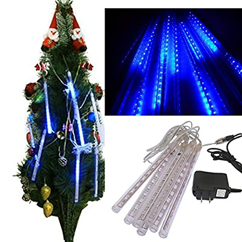 Natural Home(TM) Regeneffekt Snow Motion / 30CM Dusche Regen Lichterkette Weihnachten Baum Leuchte fuer Weihnachtsfeiertags Party Hochzeit Garten Dekoration /Blau/144LED / 8 Röhre [Energieklasse A]