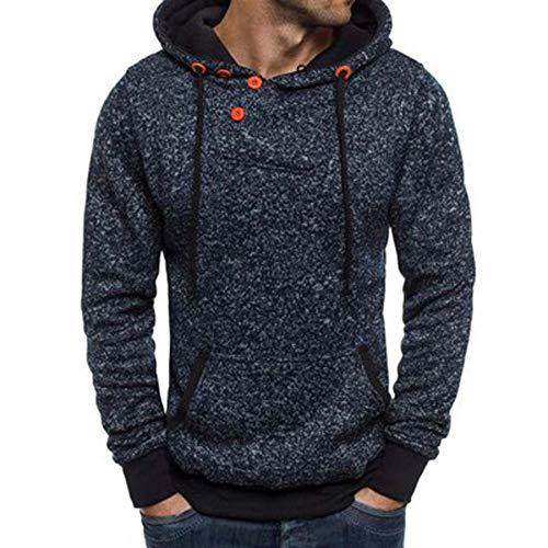 Uomo felpe, longra felpa con cappuccio a manica lunga da uomo maglione autunno maglione a collo alto felpa sportiva colore a contrasto button maglione invernale caldo