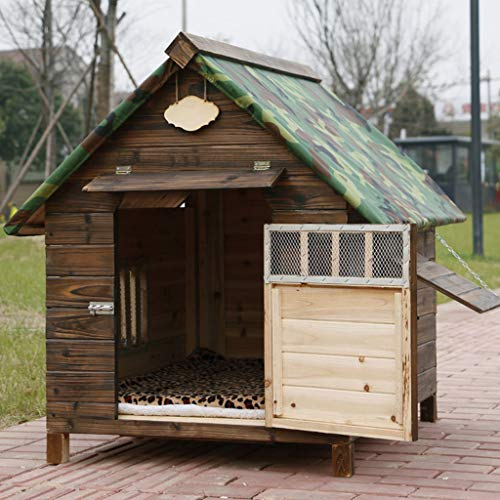 Mascota nido impermeable impermeable exterior de madera maciza carbón de madera caseta de perro perrera gato arena perro jaula Teddy perrera sala de perro mascota nido casa de perro -88 * 77 * 81cm