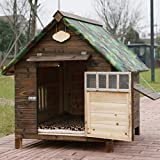 Mascota nido a prueba de lluvia impermeable al aire libre de madera maciza carbón de madera