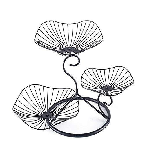 YSYDE 3-stufige Obstkorbablage in Lotusblattform, einfach zu entwerfen, spart Zeit und Mühe, Abnehmbarer dekorativer Metallständer, geeignet für Gemüsesnacks