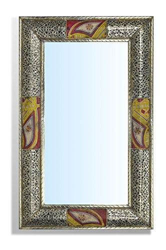 Große rechteckige Silber Marokkanische Spiegel - von Hand gehämmert mit Touareg Gemälde einfügen - L70 W50 cm - Limited Januar bieten - Ethnischen Spiegel
