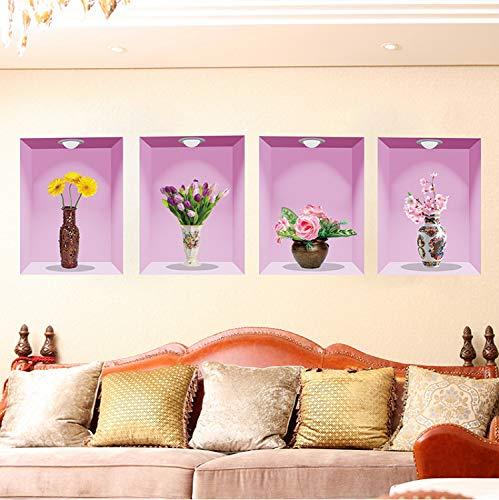 Fandhyy Removable Flower Vase 3D Wall Stickers Vinyl Wall Art DIY Home Design Decor for Bedroom Living Room Decoration