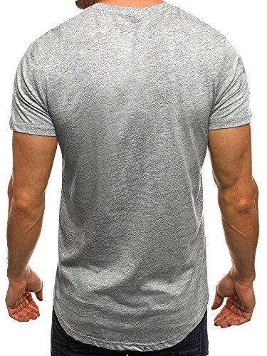 OZONEE Herren T-Shirt mit Motiv Kurzarm Rundhals Figurbetont J.STYLE SS179 Grau_J.STYLE-SS150