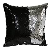 alxcio Paillette federe di cuscini reversibile due colori Custodia di Cuscino Sequin Pillow Cover 40 x 40 cm Argento -Argent et Noir