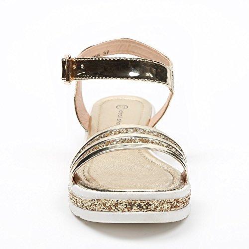 Ideal Shoes–Sandale Lack und Effekt Glitzer mit Sohle aus Gummi andréane Gold - Doree