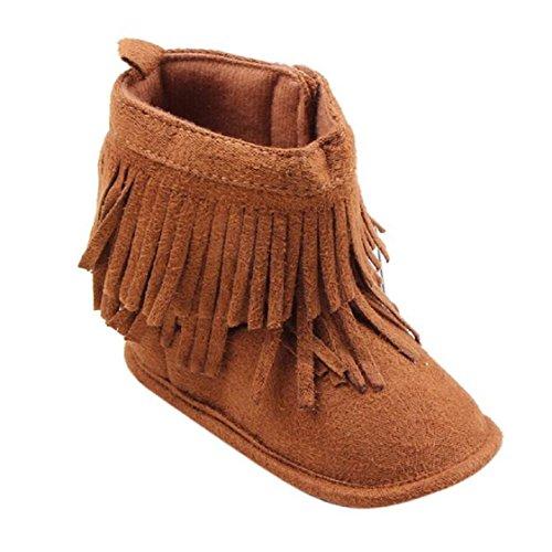 Vovotrade Tassel Kleinkind -Säuglings Neugeborenes Baby Schuhe weiche Sohle Stiefel Prewalker (Size:12, Braun) Braun