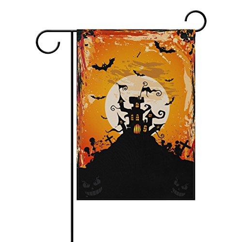Double Face Happy Halloween Bat Mouche et château de nuit cas Polyester Maison Jardin Drapeau Bannière 12 x 18/71,1 x 101,6 cm pour fête de mariage tous les temps Moderne 12x18 multicolore