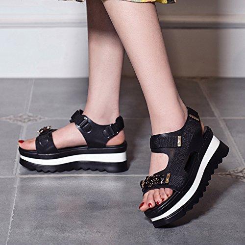LvYuan Sandali estivi delle donne / Comfort casuali / adesivi magici / talloni inferiori / cunei / scarpe romane Black