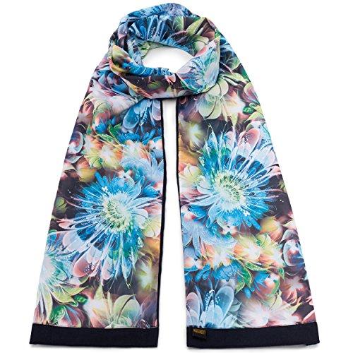 Mailando Sciarpa da donna in cotone e seta, motivo floreale blu, colore: nero