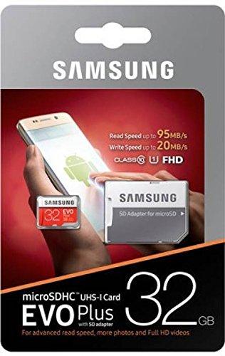 Samsung EVO Plus Micro SDHC 32GB bis zu 95MB/s, Class 10 U1 Speicherkarte (inkl. SD Adapter) rot/weiß (64gb Sdxc Samsung)