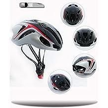buibao Unisex adulto bicicleta de montaña bicicleta Ciclismo Seguridad Casco con visera ajustable, negro y blanco