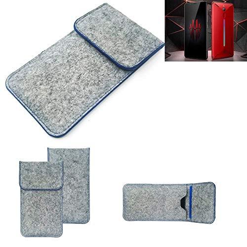 K-S-Trade® Filz Schutz Hülle Für -Nubia Red Magic Mars- Schutzhülle Filztasche Pouch Tasche Case Sleeve Handyhülle Filzhülle Hellgrau, Blauer Rand