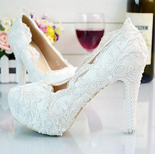 scarpe matrimonio JINGXINSTORE White tacco nozze 1 Le Nuziale Chic Stilettos tallone scarpe corte di donne floreale della party pompa alto in pizzo RrYqBHwr