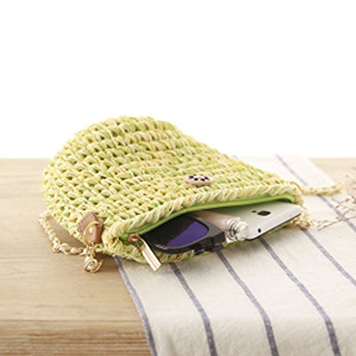 Magideal Women Small Chain Woven Straw Beach Bags Shoulder Cross Body Bag Green  available at amazon for Rs.295
