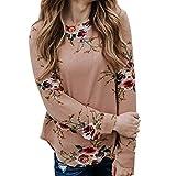 Tops Damen Blumendruck Oberteile DOLDOA T-Shirt Bluse Tunika Langeshirt