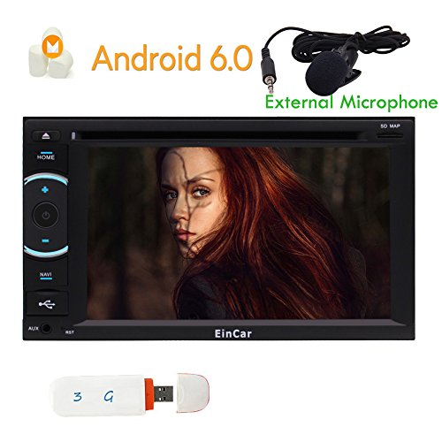 Dongle 3G Inclus! Android 6.0 St¨¦r¨¦o Lecteur DVD de Voiture CD Double Din Head Unit Navigation GPS Dash dans t¨¦l¨¦Phone Bluetooth Autoradio SD USB Refl¨¦Tant 3G / 4G WiFi OBD Support avec SWC Rad