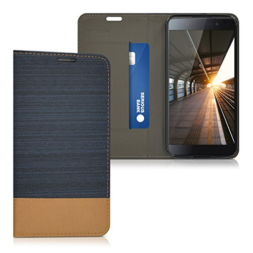 kwmobile Hülle für Blackberry DTEK50 - Bookstyle Case Handy Schutzhülle Textil mit Kunstleder - Klapphülle Cover Dunkelblau Braun