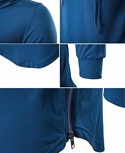 QIYUN.Z Magliette Casuali Del Hoodie Della Maglietta Lunga Del Manicotto Di Modo Degli Uomini Blu