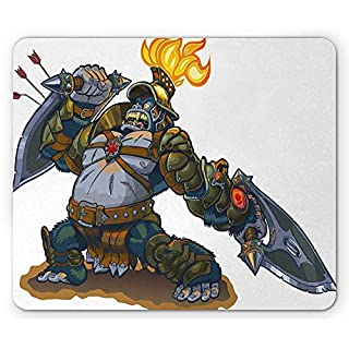 Kids Mouse Pad, Cartoon Like Fantastic Warrior King Monkey with Shield Feather Animal Artwork Print, Standard Size Rectangle Non-Slip Rubber Mousepad, Multicolor