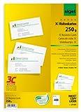 Sigel LP801 Visitenkarten 3C, 400 Stück (40 Blatt), hochweiß, glatter Schnitt rundum, 250 g, 85x55 mm - weitere Stückzahlen