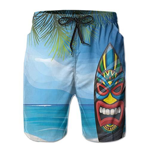 ZTLKFL Men Swim Trunks Beach Shorts,Tiki Warriorask Design Surfboard On Ocean Beach Abstractandscape Surf Print XXL -